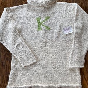 Boutique Handknit Initial K Sweater